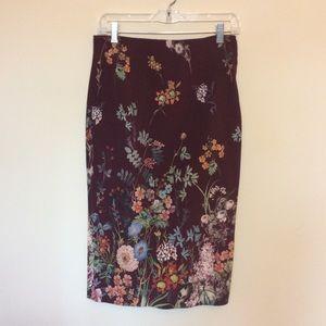 Zara woman garden floral tube pencil midi skirt